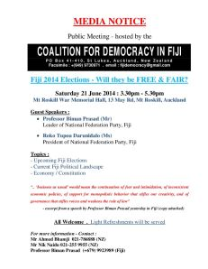 CDF Public Meeting - FIJI ELECTIONS - WILL THEY BE FREE & FAIR - 21 June 2014